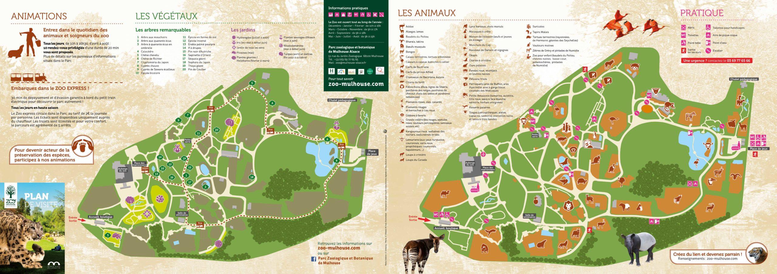 Plan du Parc ⋆ Zoo de Mulhouse, parc zoologique et botanique